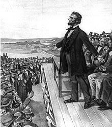 Abraham Lincoln in 1863 delivering the Gettysburg Address in.
