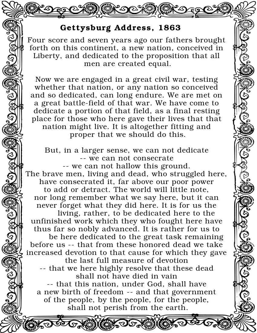 Gettysburg Address w border.