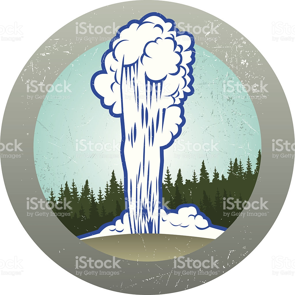 Retro Old Faithful Sticker stock vector art 114267401.
