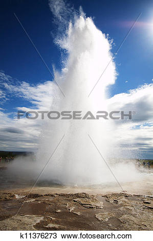 Stock Photo of Strokkur Geysir eruption, Iceland k11376273.