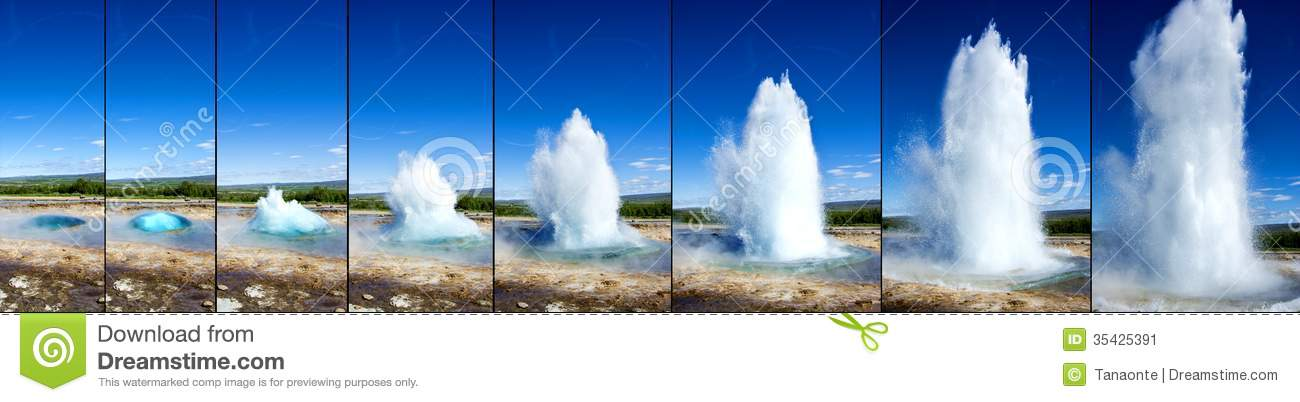 Strokkur Geyser Eruption In Sequence Stock Image.