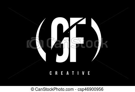 GF G F White Letter Logo Design with Black Background..