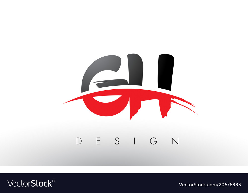 Gh g h brush logo letters with red and black.