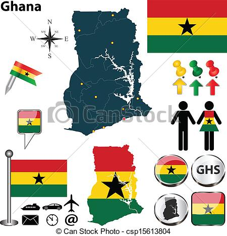 Vector Clipart of Map of Ghana.