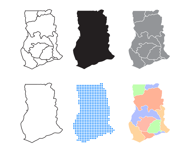 Ghana Map Vector.