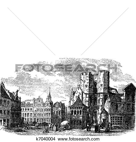Clipart of The holy place of Saint Pharailde and the old castle of.