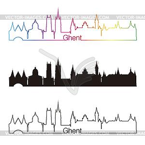 skyline linear style with rainbow.