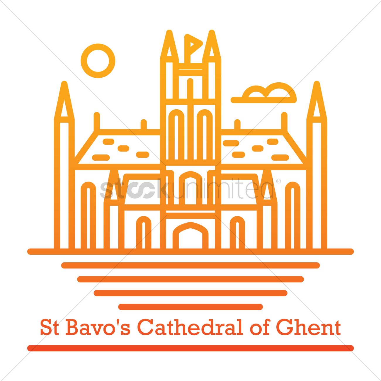 St bavo's cathedral of ghent Vector Image.