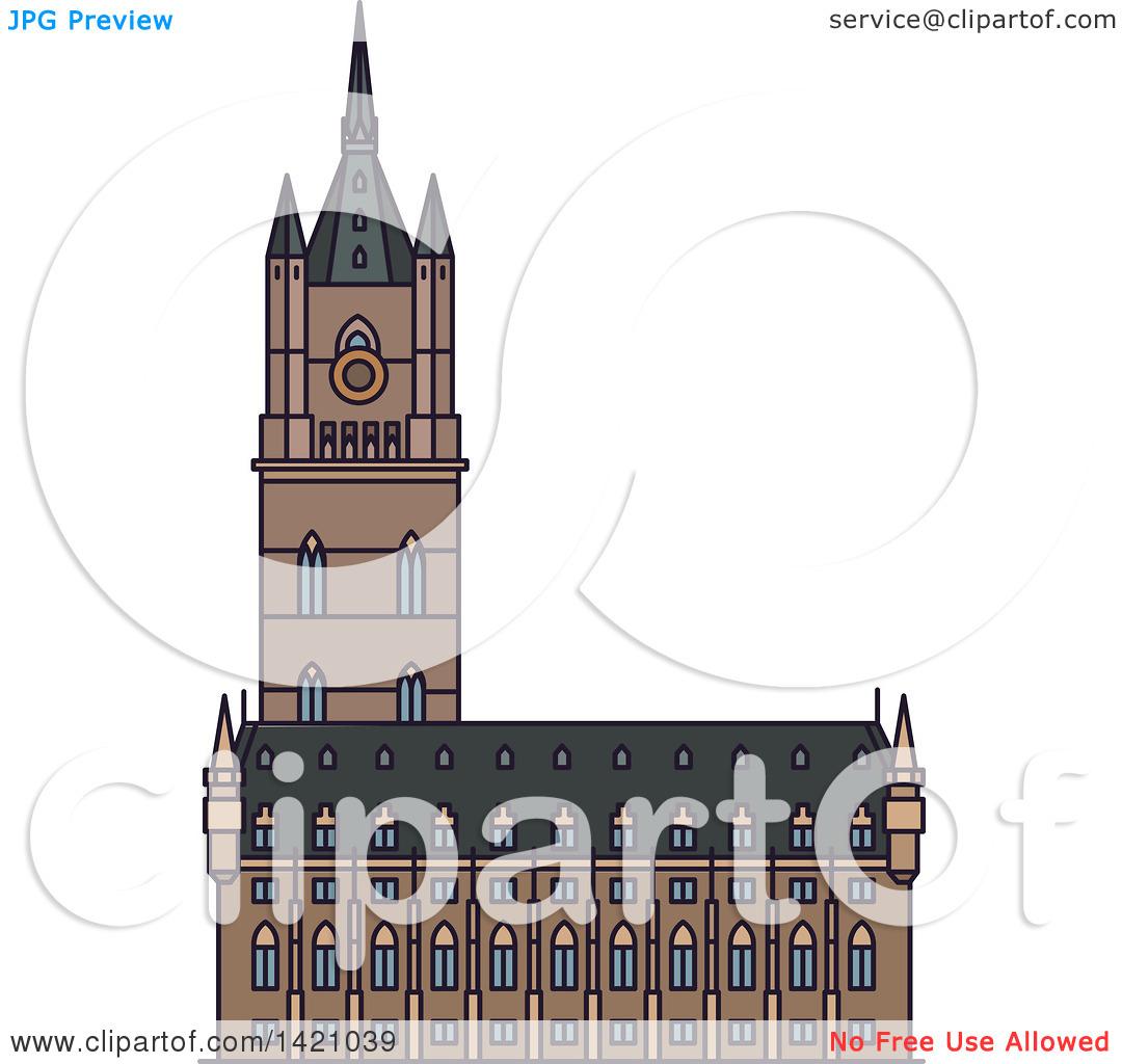 Clipart of a Belgium Landmark, Belfry of Ghent.