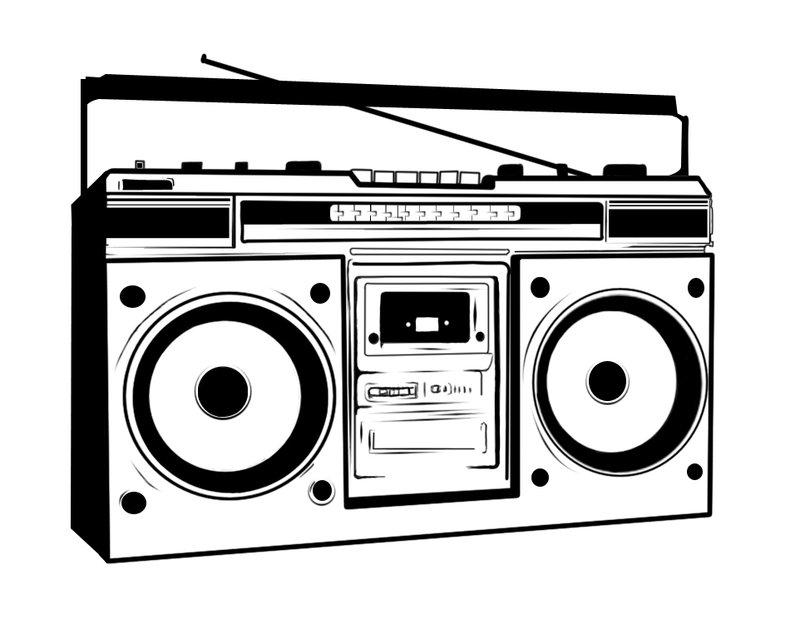 Boombox clipart black and white.