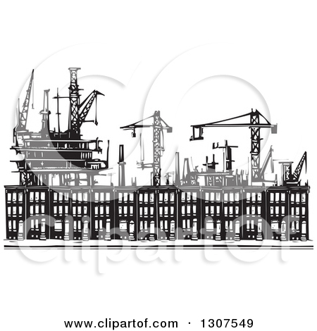 Clipart of Black and White Woodcut People Boxed in Baltimore.