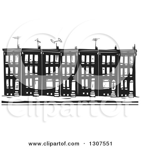 Clipart of Black and White Woodcut Baltimore Ghetto Row House Town.