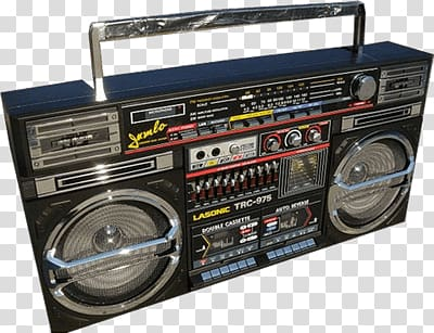 Black boombox illustration, Ghettoblaster transparent.