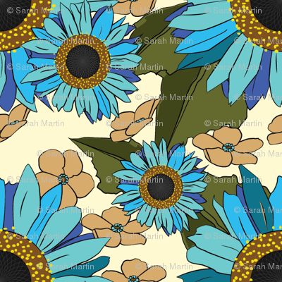 Sunflower Forget Me Not Blues fabric.