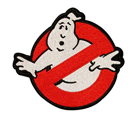 Big GhostBusters No Ghost Logo Embroidered Iron On Applique Patch 7 Inch.