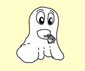 ghost eating robot fingers (drawing by zvara).