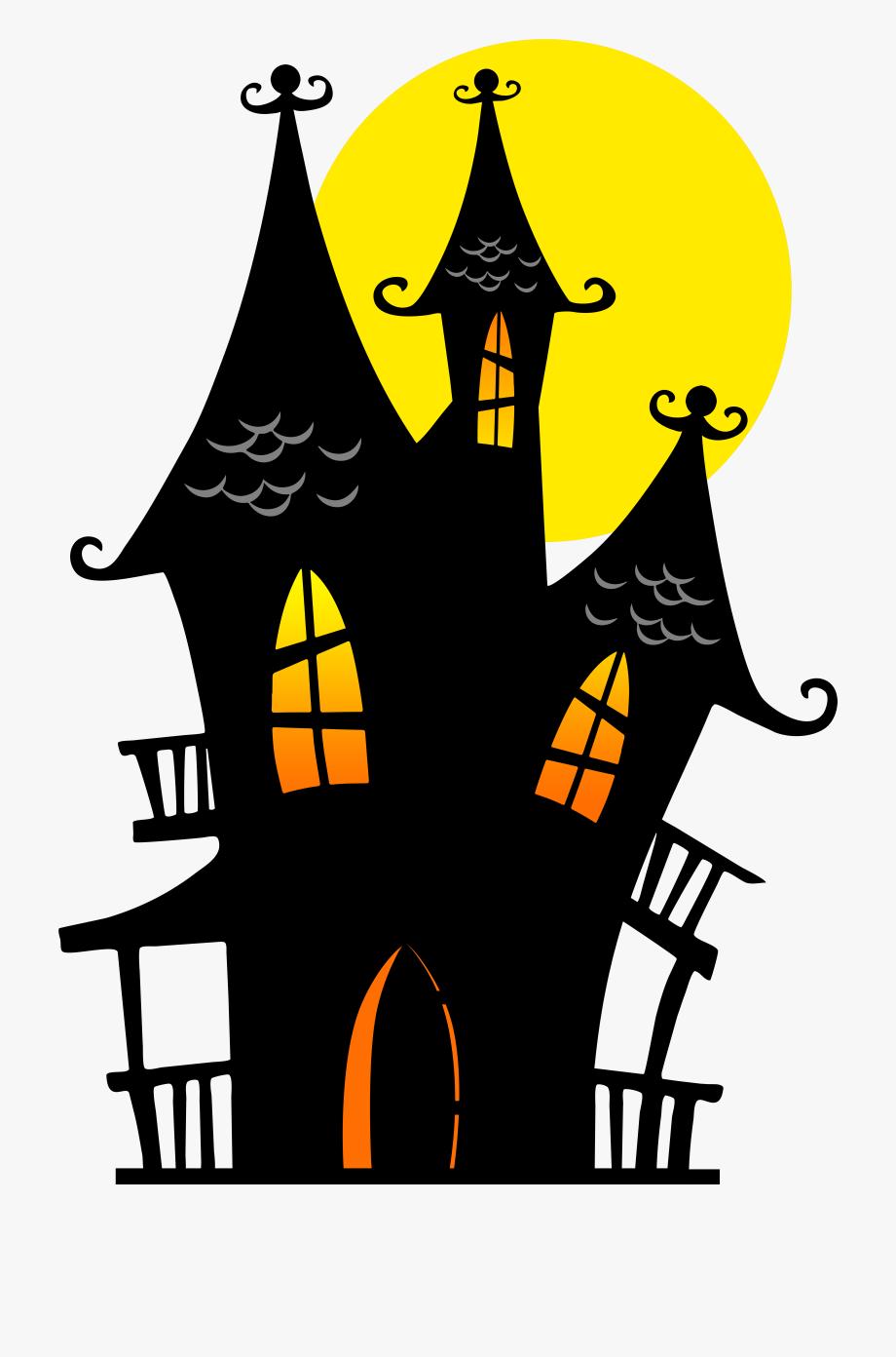 Simple Haunted House Silhouette , Transparent Cartoon, Free.
