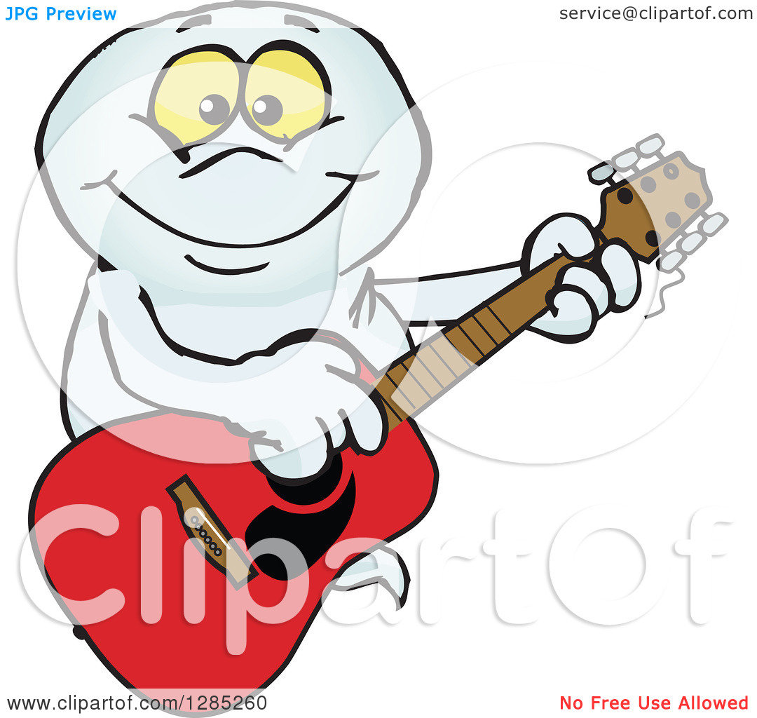 Clipart of a Cartoon Happy Ghost Playing an Acoustic Guitar.