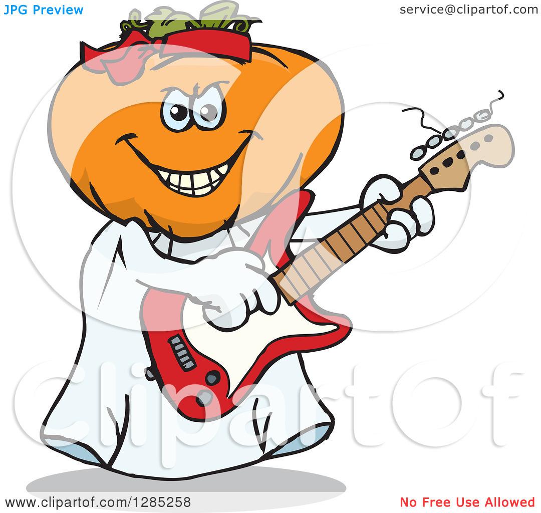 Clipart of a Cartoon Jackolantern Ghost Playing an Electric Guitar.