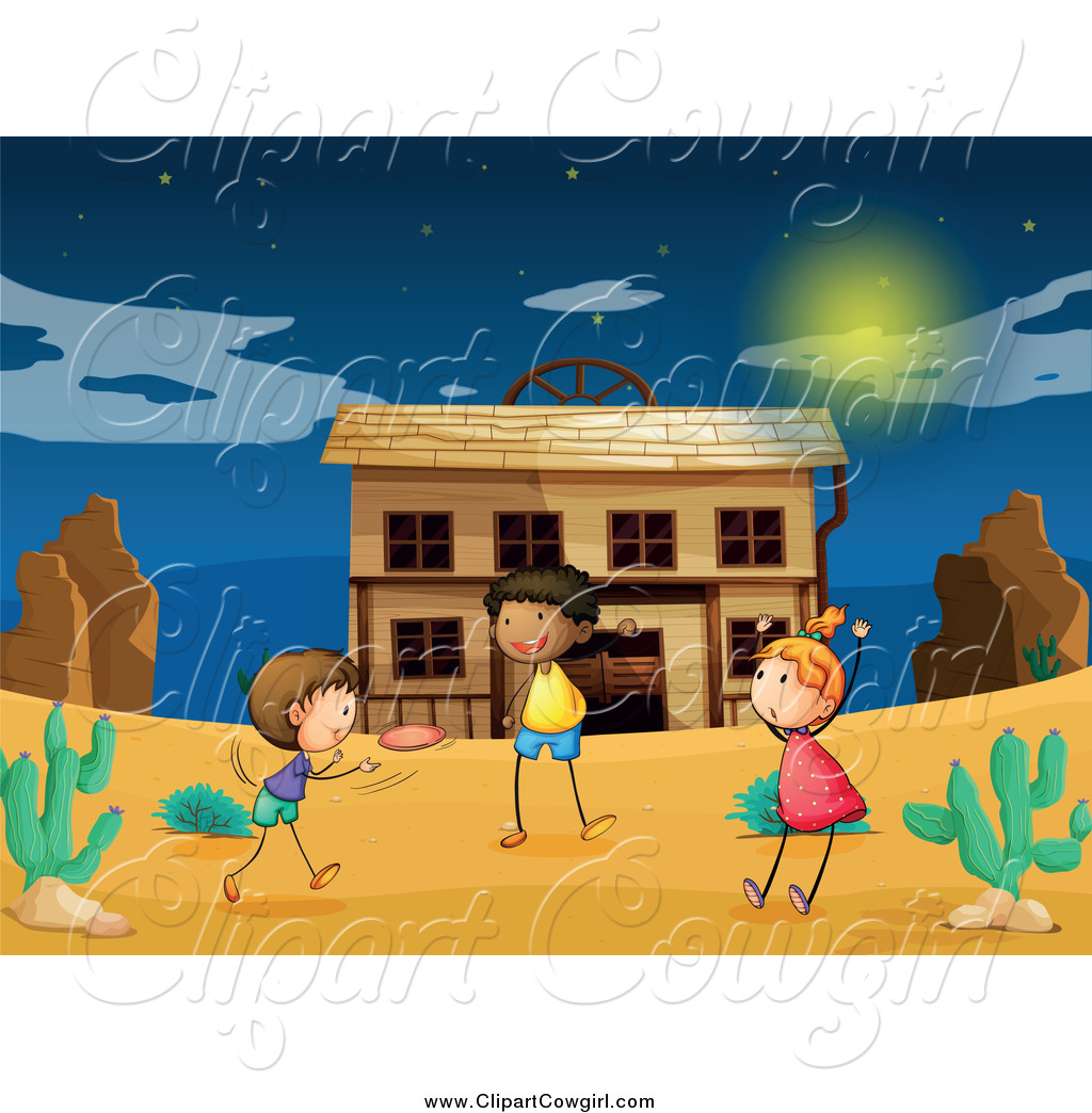 Clipart of a Children Playing Frisbee at a Ghost Town at Night by.