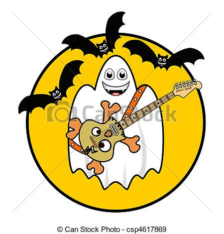 Stock Illustration of Halloween Ghost Playing Guitar under Bats.