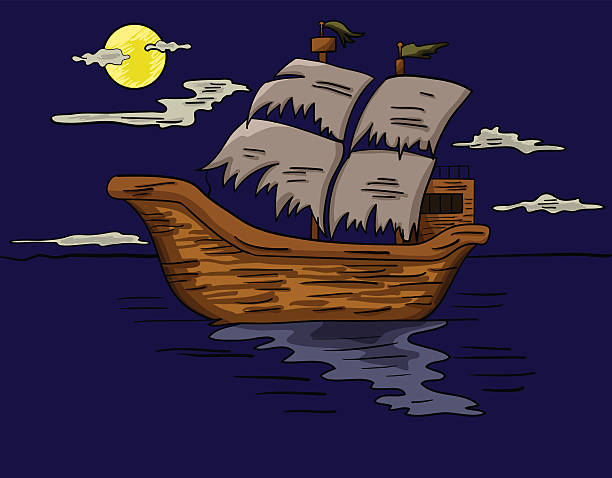 Ghost Ship Illustrations, Royalty.