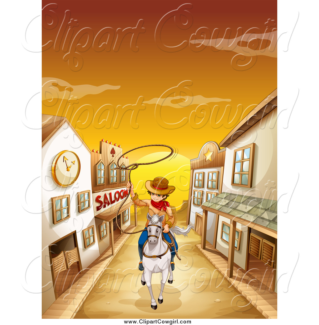 Royalty Free Stock Cowgirl Designs of Ghost Towns.