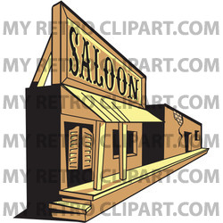 Old Saloon Facade in a Ghost Town Clipart Illustration.