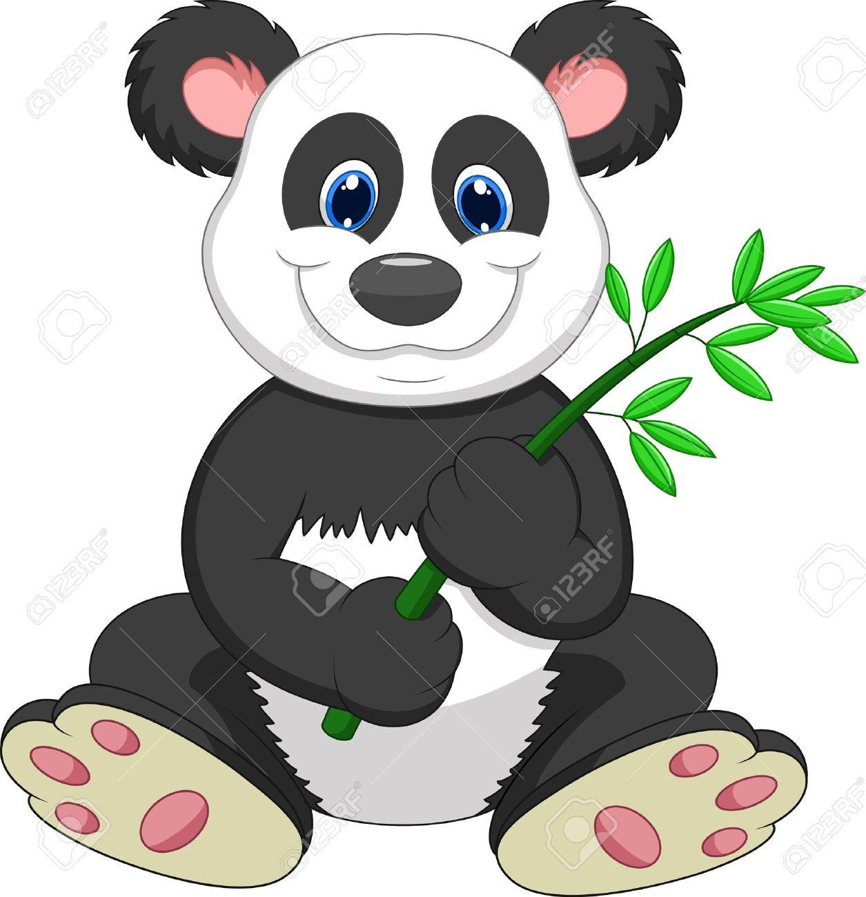 Giant Panda Cartoon Eating Bamboo Royalty Free Cliparts, Vectors.