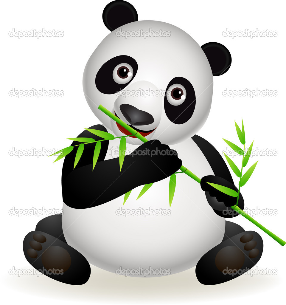 Panda Cartoon Bamboo.