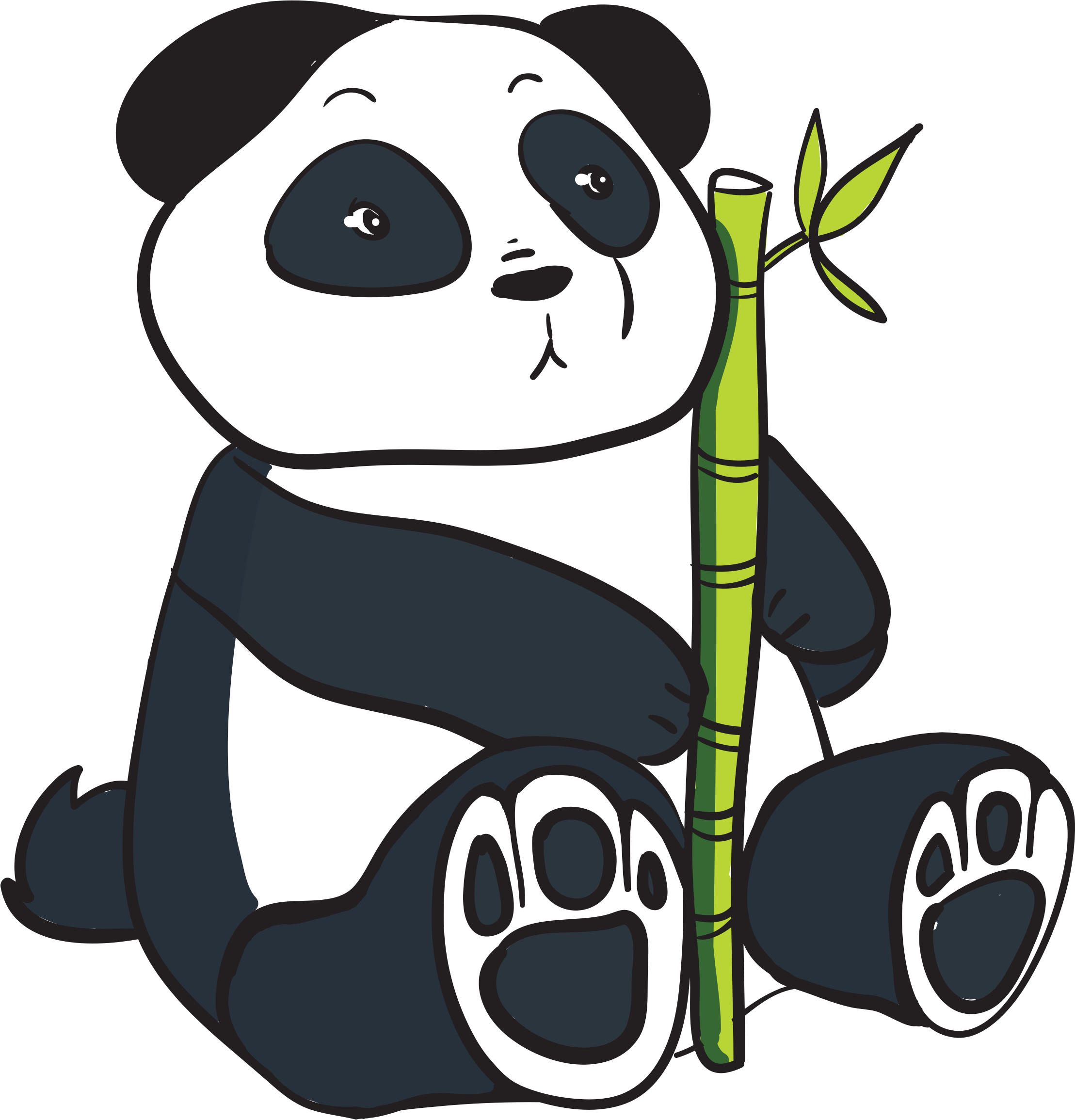 Panda with bamboo clipart.