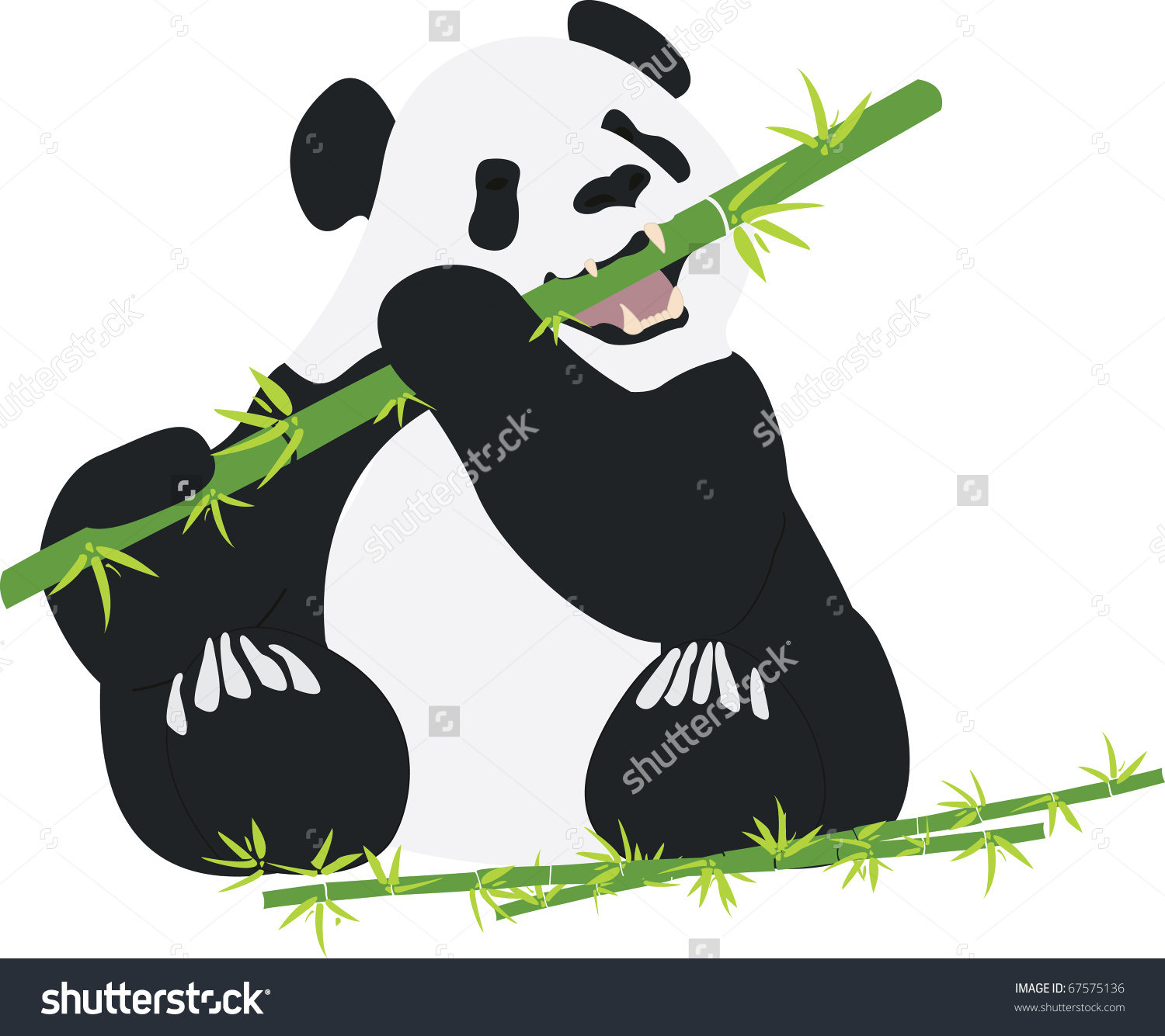 Panda Eating Bamboo Clip Art.