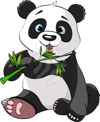 Panda Eating Bamboo Clipart.