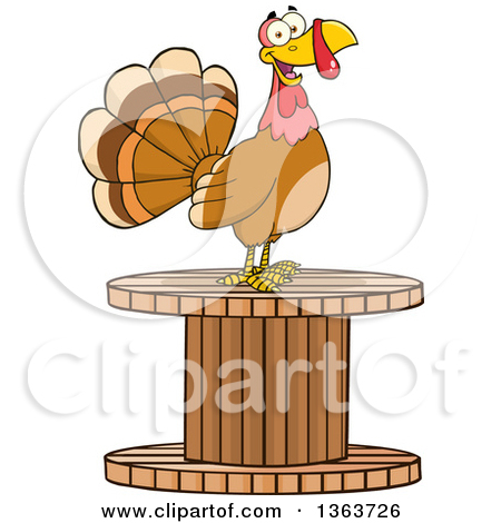 Clipart of a Scared Thanksgiving Turkey Bird Running.