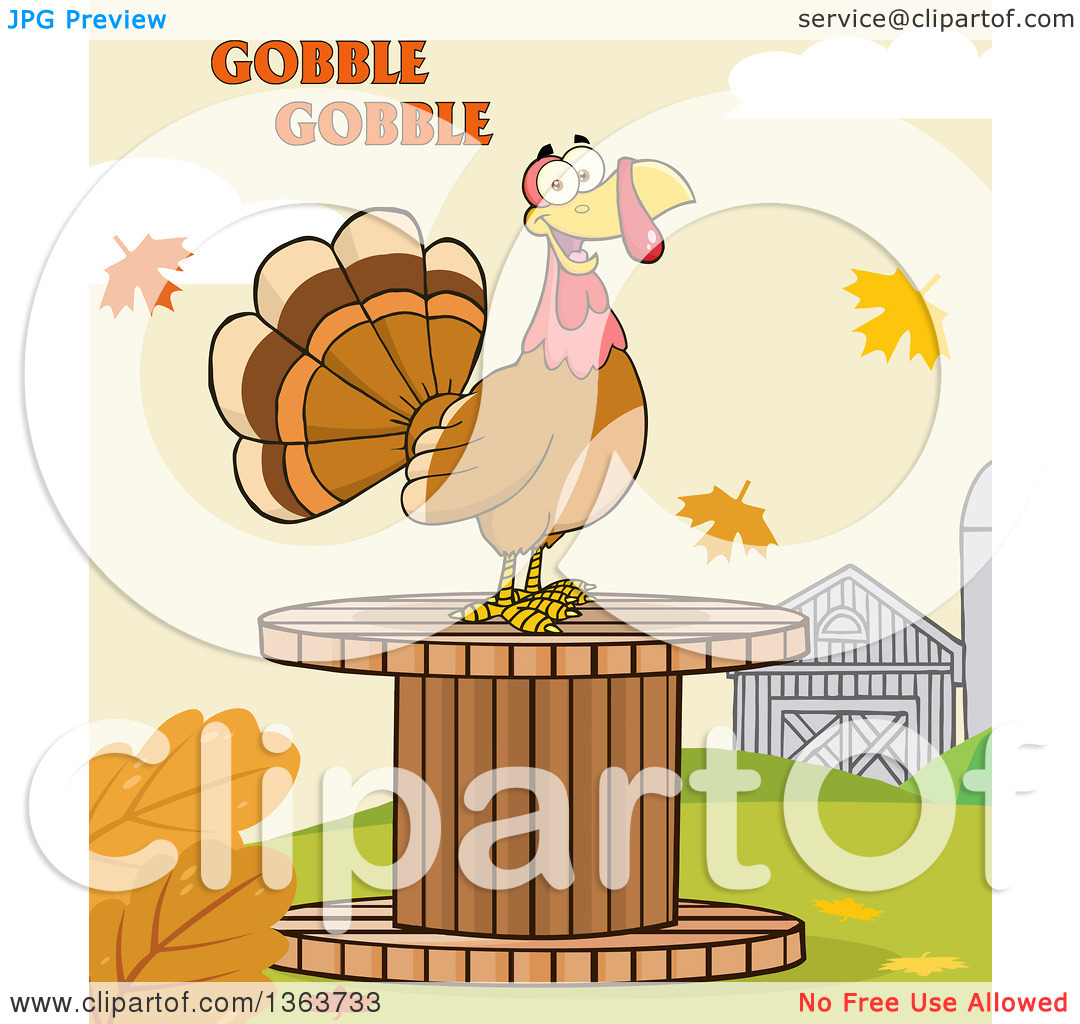 Clipart of a Cartoon Thanksgiving Turkey Bird on a Giant Wooden.