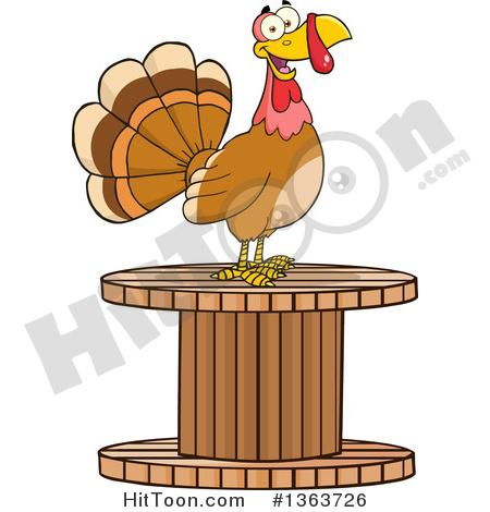 Turkey Bird Clipart #1363726: Cartoon Turkey Bird on a Giant.