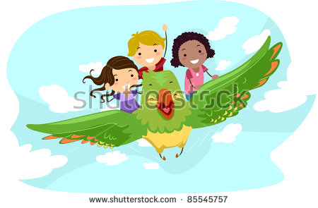 Illustration Of Kids Riding A Giant Bird.