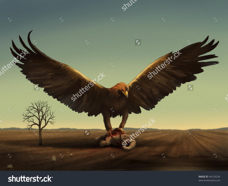 Fantasy Digital Illustration Giant Bird Preying Stock Illustration.