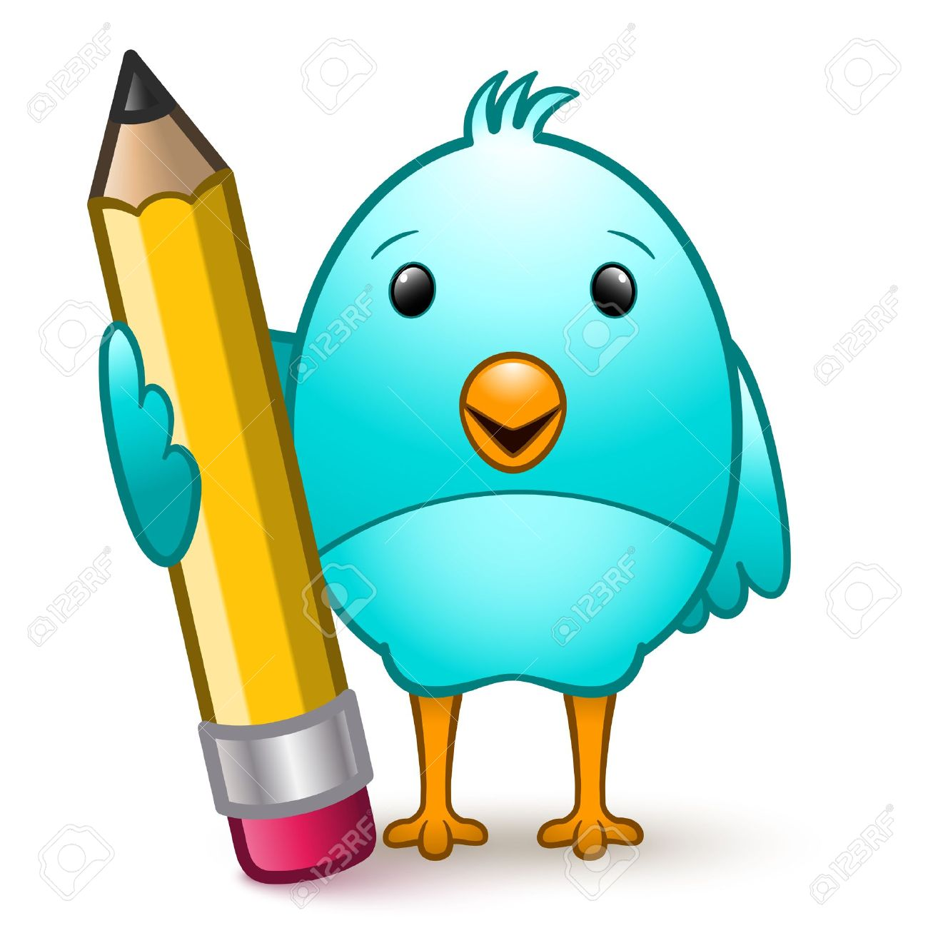 Cartoon Character Bird Standing Holding A Giant Pencil Royalty.