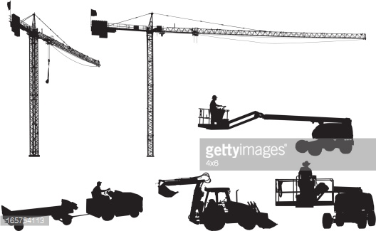 Giant Construction Cranes And Other Equipment Vector Art.