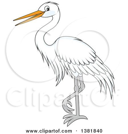 Clipart of a Cartoon White Egret Bird.