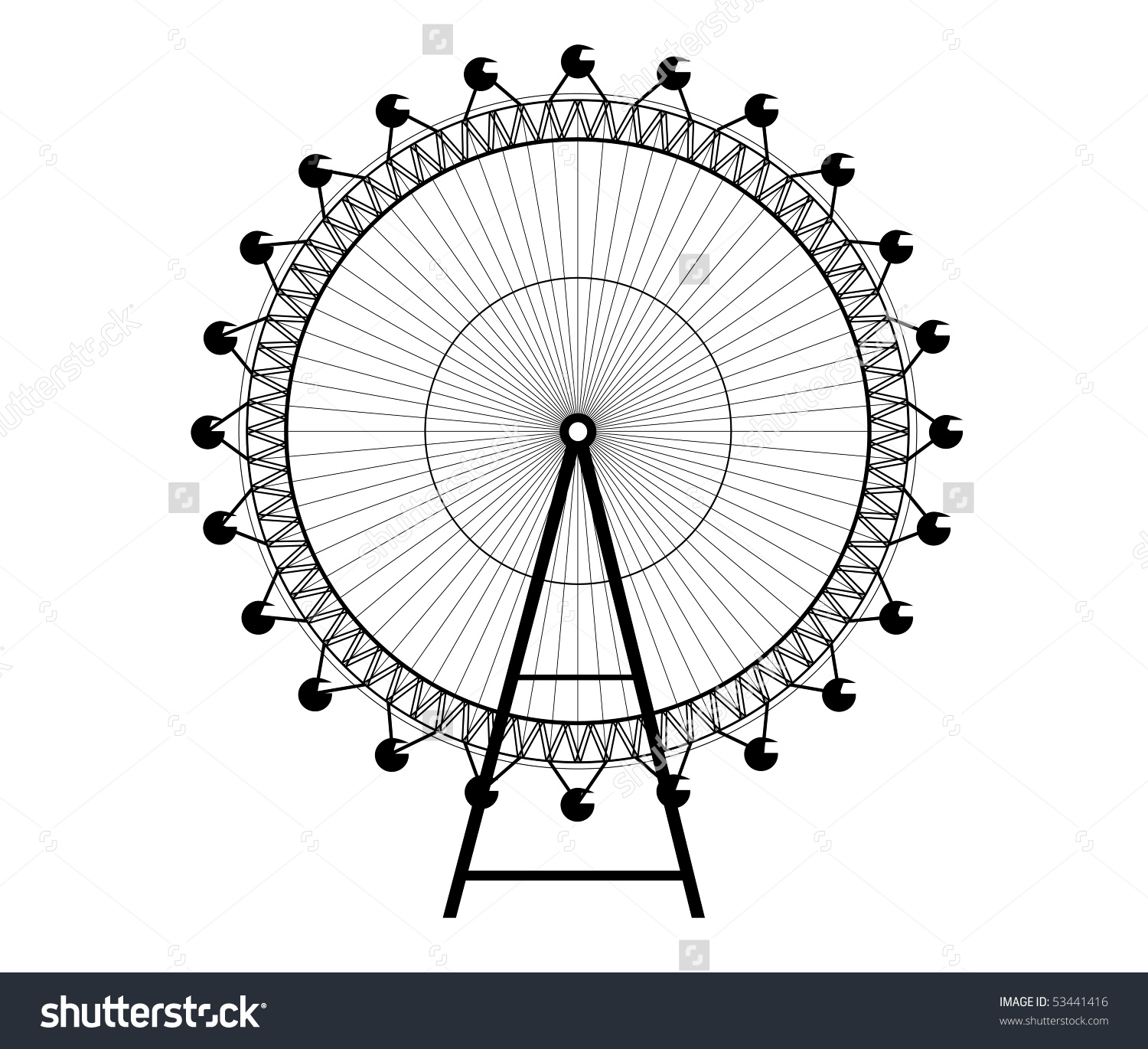 Ferris Wheel Big Wheel Vector Stock Vector 53441416.
