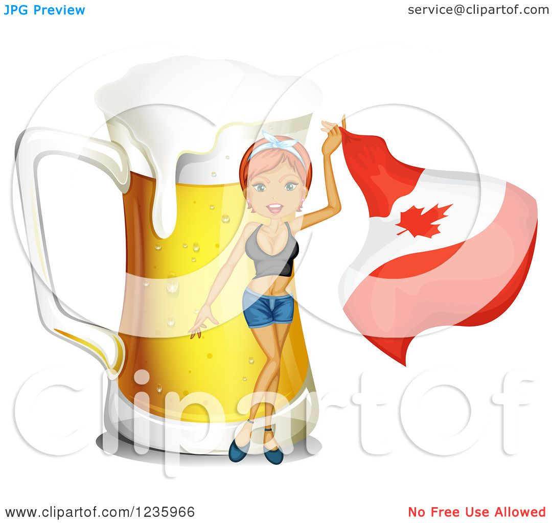 Clipart of a Woman Waving a Canadian Flag by a Giant Beer.