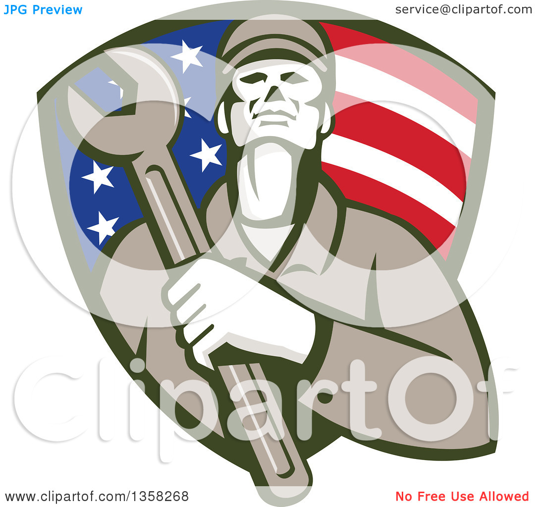Clipart of a Retro Male Mechanic Holding a Giant Wrench over His.