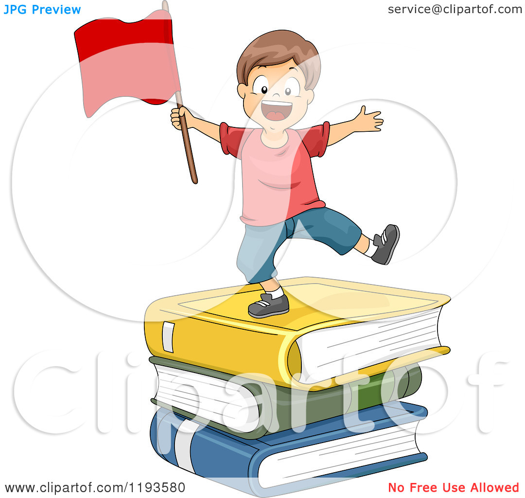 Cartoon of a Happy Boy with a Red Flag on a Stack of Giant Books.