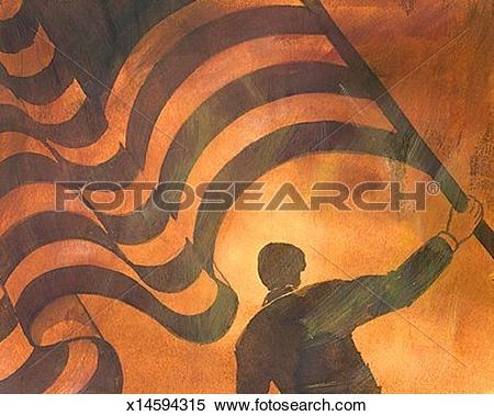 Stock Illustration of Person Waving Giant Flag x14594315.