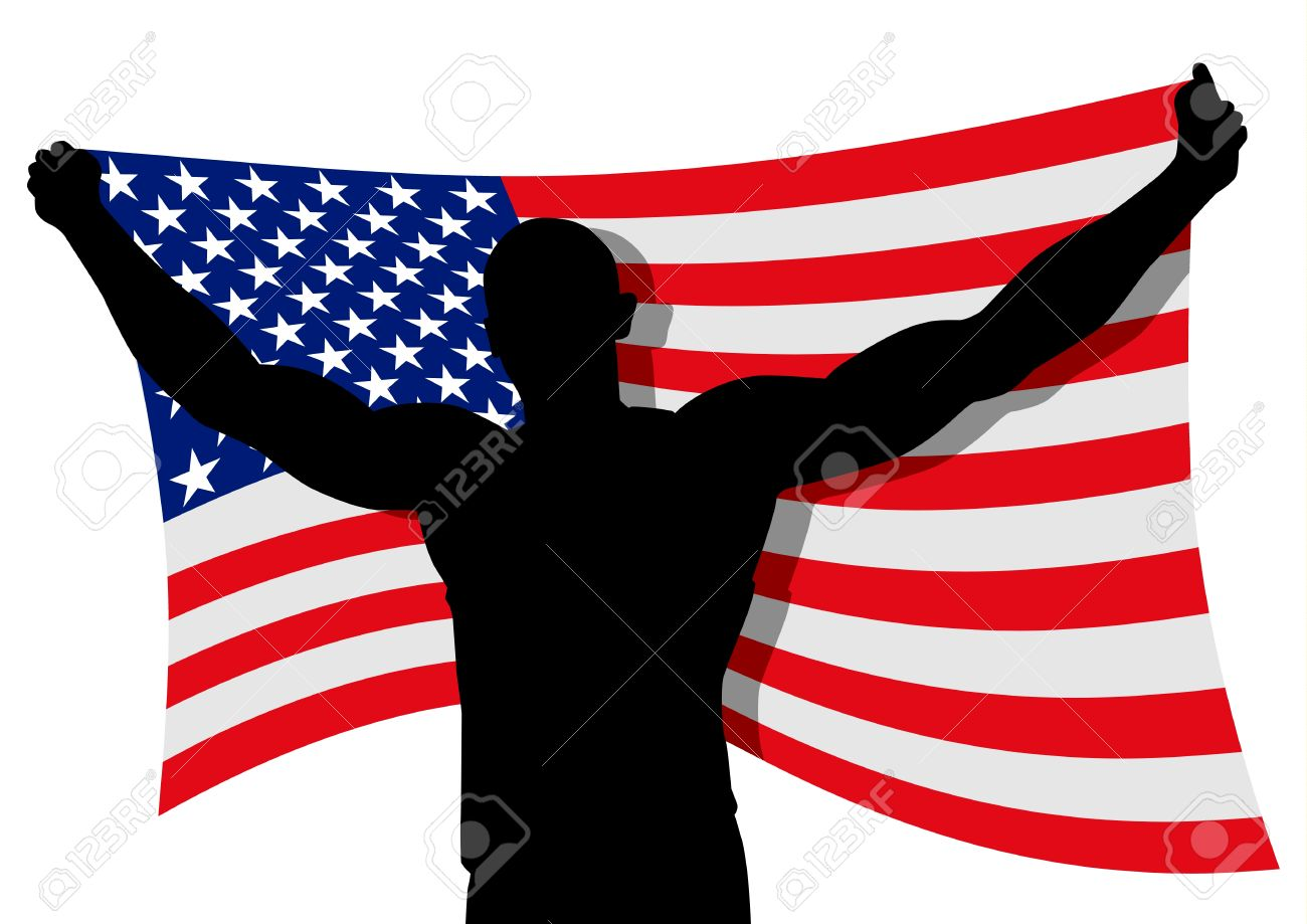 Vector Illustration Of A Man Figure Carrying The Flag Of USA.