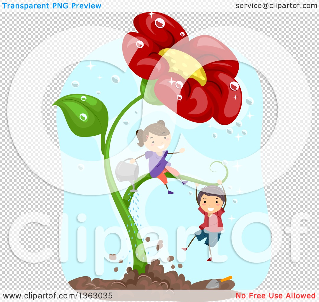 Clipart of a White Boy and Girl Playing on and Watering a Giant.