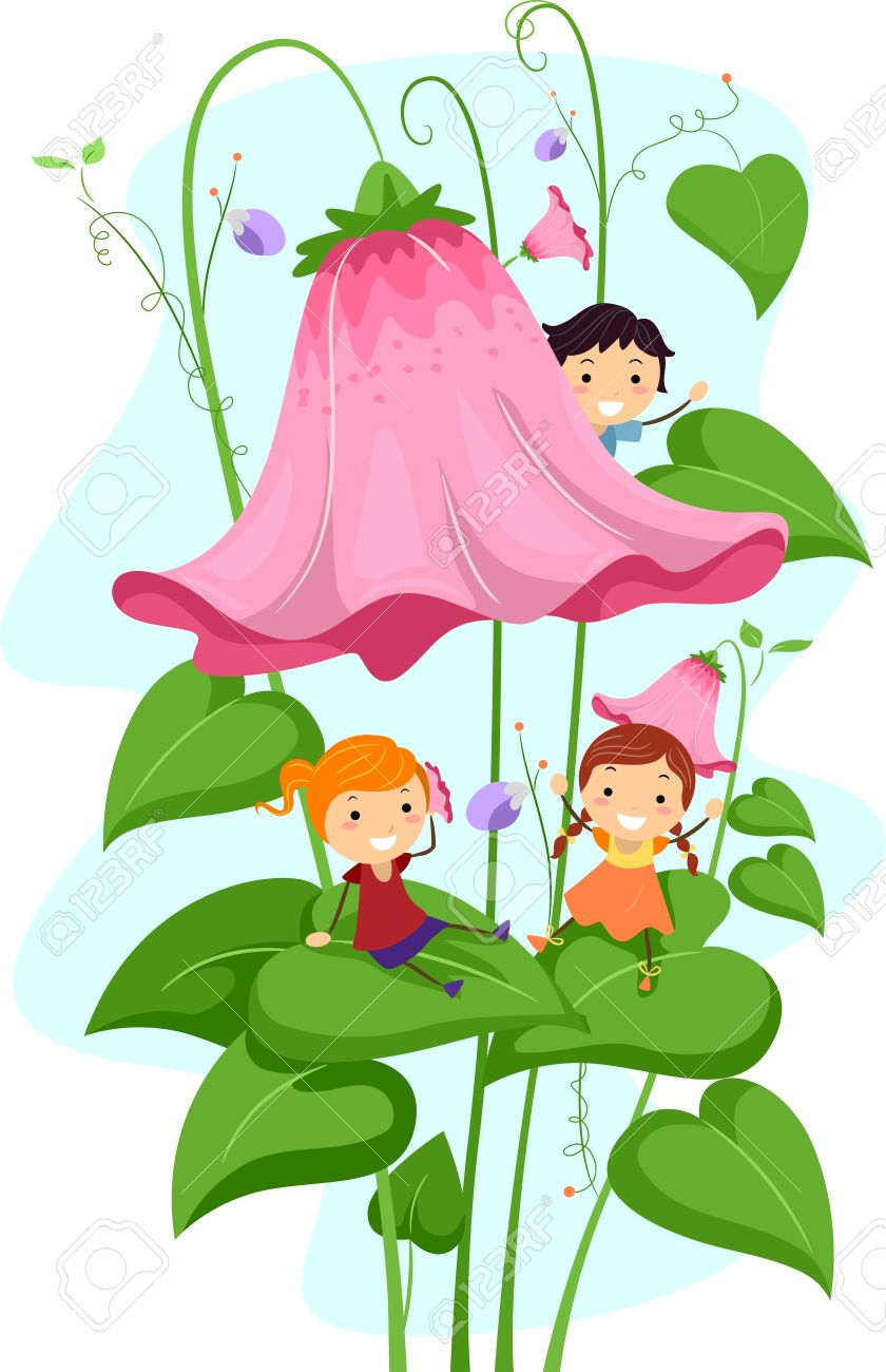 Illustration Of Kids Playing Amongst Giant Flowers Stock Photo.