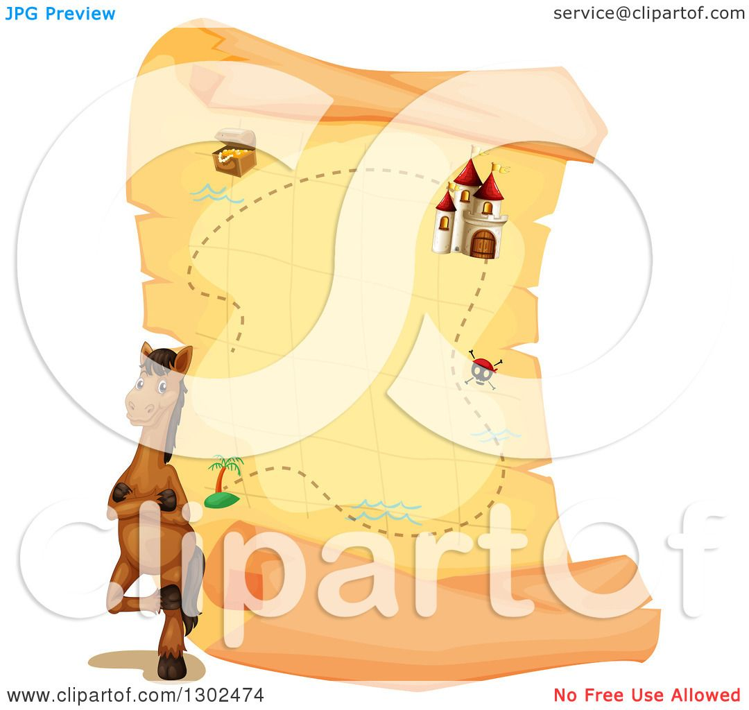 Clipart of a Brown Horse Standing by a Giant Aged Parchment.